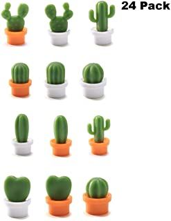 Finduat 24 Pcs Mini Cactus Refrigerator Magnets Cute Kitchen Magnets office magnet for Home Kitchen Office Whiteboard Decoration Supplies