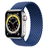 WAAILU Solo Loop Braided Band Woven Compatible for Apple Watch SE Series 6 40mm 44mm Compatible for Iwatch 5/4/3/2/1 38mm 42mm-(Blue-42/44-8)