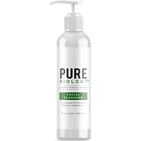 Pure Biology Facial Cleanser with Hyaluronic Acid, Gentle Anti Aging Face Wash Helps Minimize Pores, Calm Acne, Smooth Wrinkles & Brighten Complexion, Mens Face Wash for Women & All Skin Types, 6oz