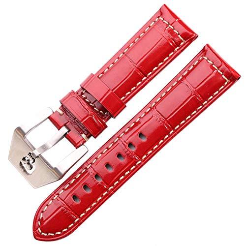 ZZDH Correa Reloj Cuero Reloj Strap 22mm 24mm 6 Colores Accesorios de Relojes para Hombres y Mujeres. (Band Color : Red, Band Width : 24mm)