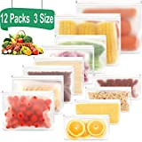 Reusable Sandwich Bags-12 Pack(3 Size) Reusable Food Storage Bags with Double Zipper Seal Lock,PEVA Leakproof Snack Bags for Kids & Fridge Organization