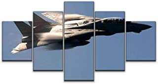 Skipvelo 5 Panels Wall Canvas Prints Pictures, air Show Military f 14 Tomcat Jet Fighter Aircraft high Speed Fast Wall Pai...
