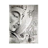 抽象ブラックホワイト宗教仏像は、リビングルームのためのキャンバススカンジナビアポスターとプリントウォールアート画像にペイント (Color : PA360, Size : 50x70cm no frame)