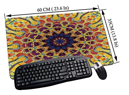 Gaming und Office Mauspad,Gelbe Mandala, geometrische Mosaikform bunte Kachel kurvige Figuren und Blume indische Verzierung dekorativ, mehrfarb,mit vernähten Rändern und rutschfester unterseite60x35cm