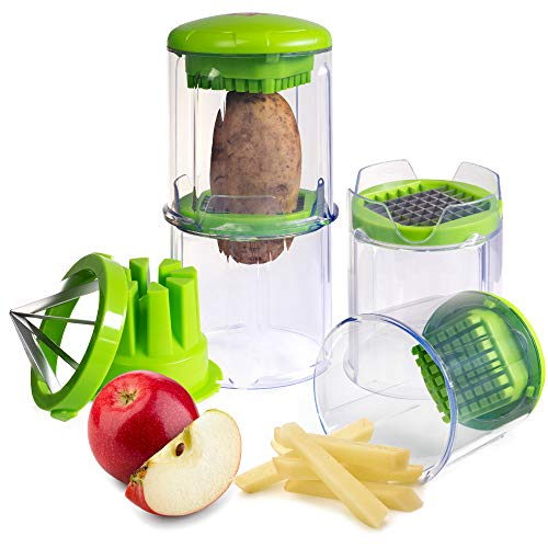 EZFries 2.0 X3001 French Fry Vegetable Cutter Virtually Unbreakable with Super Sharp Stainless Steel Blades, Crisp Perfect Cuts. Slices Tomatoes,Cucumber,Onion,BONUS Apple Slicer,Easy Clean Storage