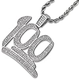 JINAO Hip Hop Silver Plated Iced Out CZ 100 Pendant Necklace with 24' Stainless Steel Rope Chain for Men