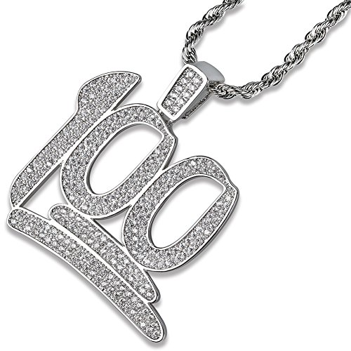 JINAO Hip Hop Iced Out Silver Plated 100 Pendant Necklace with 24' Stainless Steel Chain