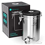Coffee Gator Coffee Canister - 22oz Stainless Steel, Airtight Coffee Storage Container for Grounds and Beans w/ Date Tracker, CO2-Release Valve & Measuring Scoop - Large, Silver