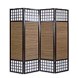 Homestyle4u 876, XL Paravent Raumteiler 4 teilig, Bambus Holz, Braun, Höhe 2 m