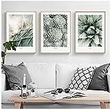 Peinture 3 Pièces Ensemble Toile Art Décoration Nordique Plante Verte Feuille Cactus Affiches Murales Et Impressions Mur Photos Pour Salon Décoration Avec Cadre