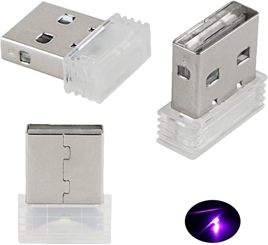 Bevinsee Mini USB Led Light for Car Plug-in 5V Lamp Interior Ambient Lighting Kit,Pink,3pcs