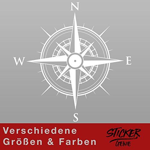 KOMPASS Windrose Aufkleber Wandtattoo Wandaufkleber Sticker (40 (B) x 40 (H) cm, Weiss)