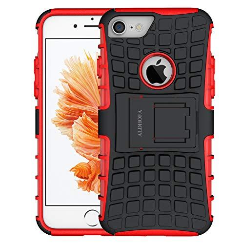 ALDHOFA Cover iPhone 7, Doppio Strato a Ibrida Phone Caso per Apple iPhone 7 -Rosso
