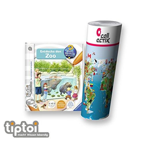 Ravensburger tiptoi ® Buch | Entdecke den Zoo + Kinder Tier-Weltkarte - Länder, Tiere, Kontinente