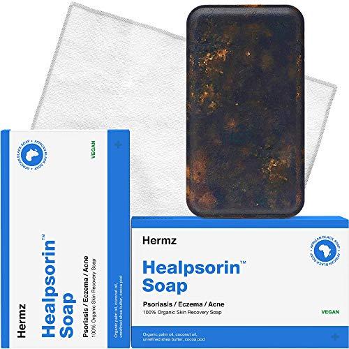 Healpsorin Afrikanische Schwarze Seife Roh - 2er Set + Mikrofasertuch - Psoriasis, Ekzeme, Behandlung von Akne