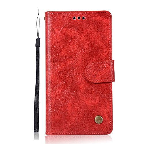 Sunrive Hülle Für Huawei Y6 II Compact/Huawei Y5 II, Magnetisch Schaltfläche Ledertasche Schutzhülle Etui Leder Hülle Cover Handyhülle Schalen Handy Tasche Lederhülle(J Rot)+Gratis Eingabestift