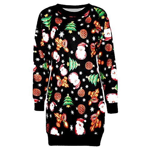 Xmiral Damen Weihnachten Kleid Pullover Langarm Weihnachtsmann Gedruckt Jumper Dünne Tops (XL,Schwarz4)