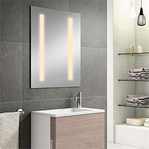 Qiyang 500 x 700 mm Badezimmerspiegel mit beleuchteter Wand LED-Schminkspiegel 3000K Warmweißer Kosmetikspiegel mit Rückwand und kupferfreiem Spiegel