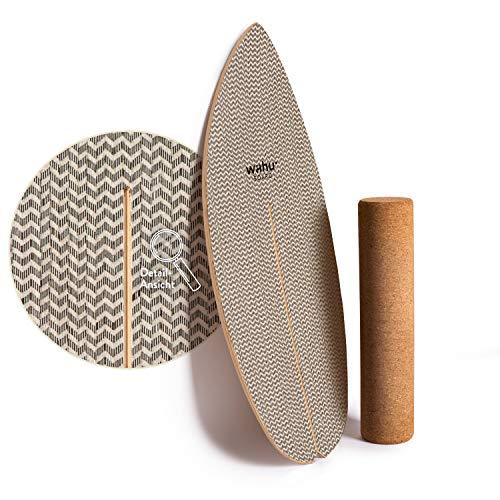 WAHU- Balanceboard (Day and Night Twill) - Trickboard mit einzigartigem Rocker Shape inkl. Rolle - Balance Trainer (100% Holz) | Indoor Balance Board | Wackelbrett für Kinder & Erwachsene