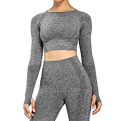 Women's Workout Vital Long Sleeve Seamless Crop Top Gym Sport Shirts (Charcoal Grey Marl, Medium)