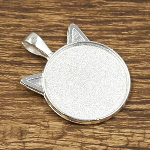 WANM 4 Uds 25Mm Tamaño Interior Bronce Plata Color Oro Multicolor Simple Gato Estilo Redondo Cabujón Base Ajuste Colgante
