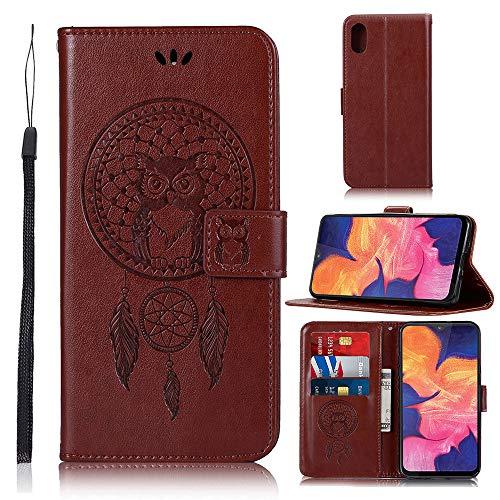 Capa carteira para celular Moto G5S Plus em relevo 3D com sino de vento coruja PU couro flip capa para Motorola G5S Plus - Marrom