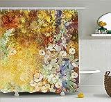 AdaCrazy Aquarell Blumen weich grün romantisch Grunge Antik Vintage Thema Floral Duschvorhang Blätter Dekor Polyester Stoff Badezimmer Set mit Haken gelb braun