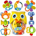 Baby Rattle Sets Teether Rattles Toys, 8pcs Babies Grab Shaker and Spin Rattle Toy Early Educational Toys with Owl Bottle Gifts Set for 3, 6, 9, 12 Month Newborn Infant Baby, Boy, Girl from LITTLESMET