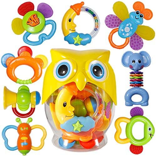 Baby Rattle Sets Teether Rattles Toys, 8pcs Babies Grab Shaker and Spin Rattle Toy Early Educational Toys with Owl Bo...