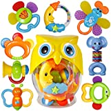 Baby Rattle Sets Teether Rattles Toys, 8pcs Babies Grab Shaker and Spin Rattle Toy Early Educational Toys with Owl Bottle Gifts Set for 0, 3, 6, 9, 12 Month Newborn Infant Baby, Boy, Girl