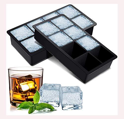 SEESEE.U Eiswürfelschale, 2 Silikon-Eisschalenformen Eisschalenbehälter 8 Eiswürfel, BPA-frei, Cocktail-Saft-Schokolade