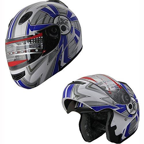 MRC X4 Motorcycle Helmet Adult DOT Modular Flip up Full Face Sports Bike Snowmobile Helmet with Anti Fog Shield (138 Black, L)