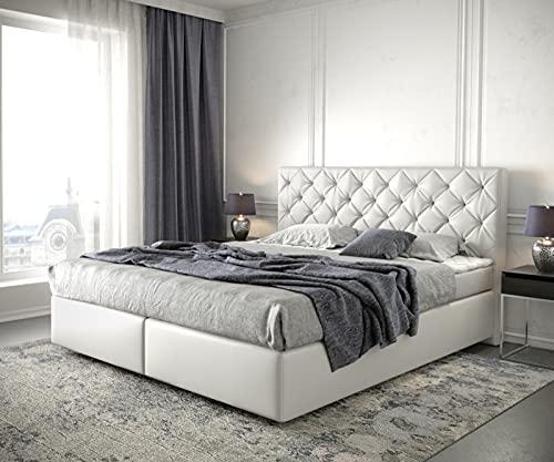 DELIFE Boxspringbett Dream-Great Kunstleder Weiß 180x200 mit Matratze und Topper