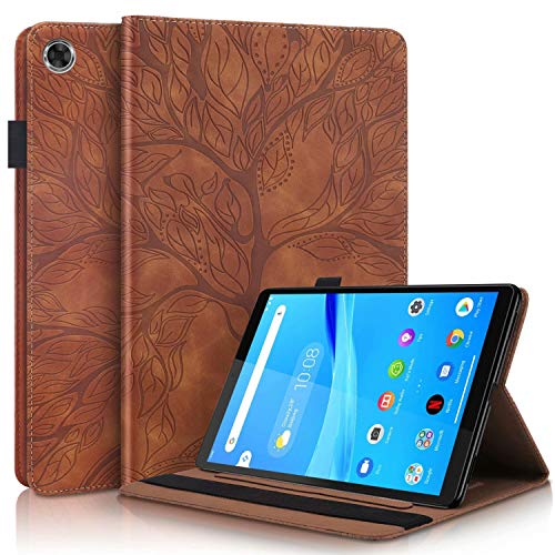 MISSDU Compatible with Case for Lenovo Smart Tab M8 8 Inch HD TB-8505F/TB-8505X PU Leder Wallet Cover BookStyle Flip Stand Function Card Slot and Pen Holder Brown