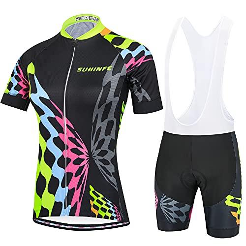SUHINFE Radsport-Bekleidung für Damen, Atmungsaktiv Radtrikot Damen mit Trägerhosen mit 3D Sitzpolster für MTB, Sommer