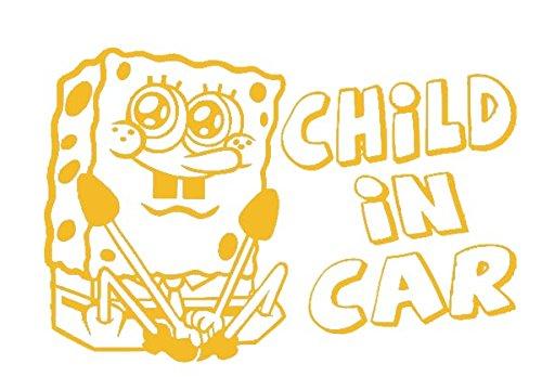カッティングステッカー スポンジボブ CHILD IN CAR (イエロー) [並行輸入品]spongebob セーフティ 転写 デカール