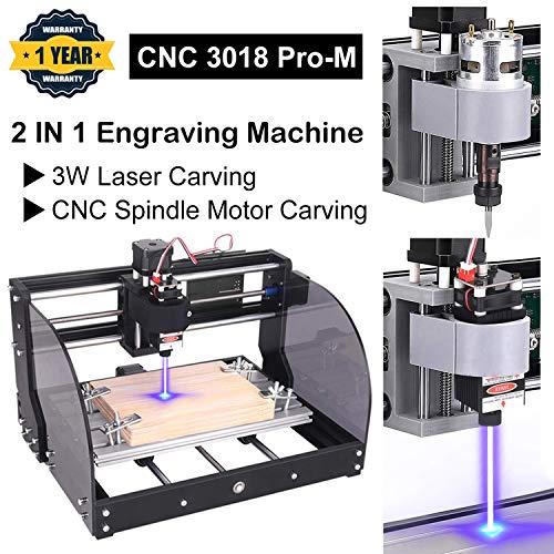3W CNC 3018 Pro-M GRBL - Máquina de grabado, con placa protegida, Yofuly 3 ejes PCB PVC Área de trabajo 300 x 180 x 45mm (3018-pro con barra de extensión con collar ER11)
