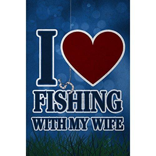 I Love pesca con mi esposa Corazón Decoración de Man Cave bar Sign
