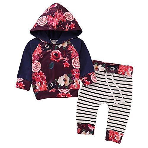puseky Neugeborenes Baby Mädchen Langarm Floral Hoodie Sweatshirt + Hose Kleidung Outfits Set (0-3 Monate, Rot)