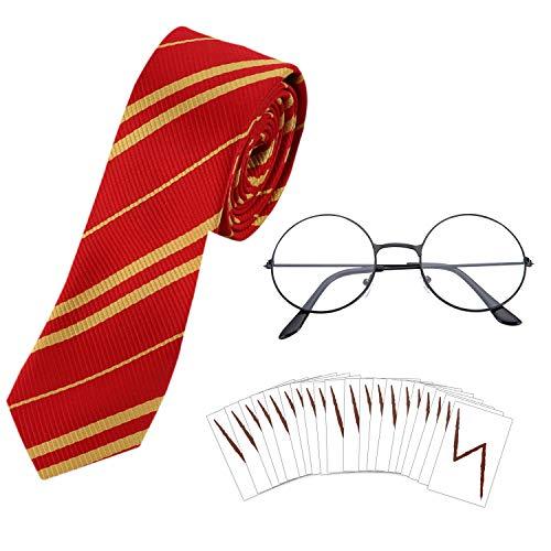 HOWAF Wizard Cravatta Occhiali Rotonda Senza Lenti e Tatuaggi con Fulmine per Bambini Harry Potter, Halloween, Festa in Costume di San Patrizio, 22 Pezzi, Nero
