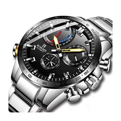 BINGER Relojes para Hombre Automatico Reloj Mecanico Impermeable Multifuncional Relojes de Pulsera Estilo Deportivo con Función de Calendario (Color : Silver)