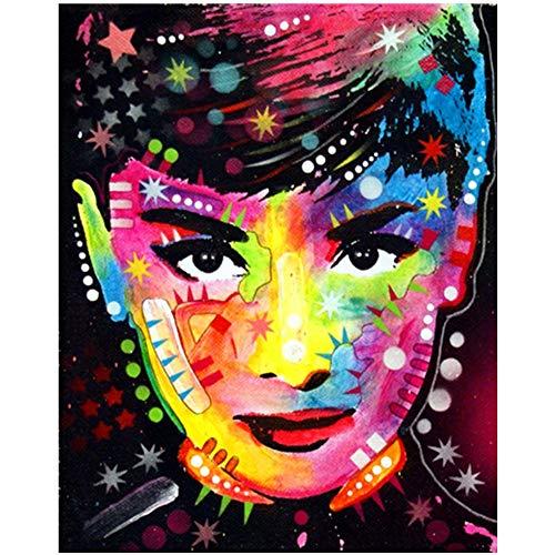 Kit de Pintura de Diamante 5D DIY Hecha a Mano con Bordado Diamantes de Imitación Cristal Cruz Kit Pintura por Diamond Audrey Hepburn DIY Paisajes para Decoración del Hogar Adhesivo de Pared 25 x 30cm