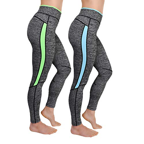 L&K-II 2er Pack Damen Laufhose Training Leggings Strech Fitness Sporthose 4113 Neoblau+Neongrün L/XL
