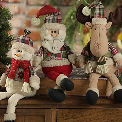 Handfly Decoración de muñecas de Navidad Muñeco de nieve de renos de Santa Muñeca para Navidad Decoración de mesa Exhibición de ventana Centro comercial KTV Bar Decoración Regalos de Navidad