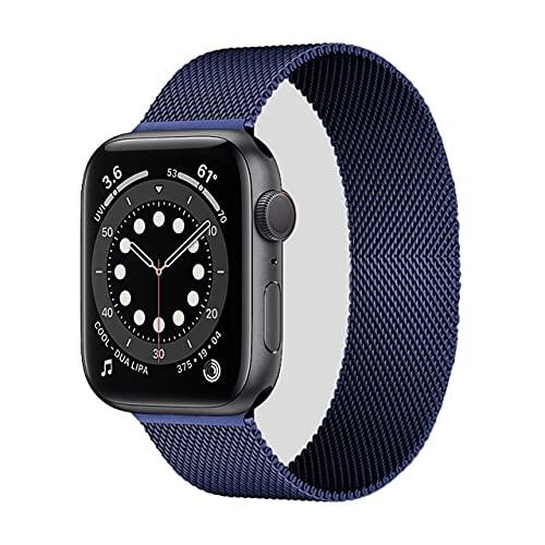 Hspcam, cinturino milanese ad anello per Apple Watch Band 44 mm 40 mm 38 mm 42 mm in acciaio inox bracciale in metallo Correa iWatch serie 6 5 4 3 se 2 1 (blu notte, 38 mm o 40 mm)