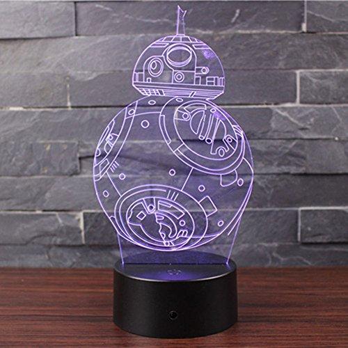 Ray-Velocity Lampada Effetto 3D Luce Notturna Regolabile con 7 Colori LED e Interruttore Tattile Lampada da Scrivania Della Decorazione della Casa Del Migliore Regalo di Natale (BB-8)