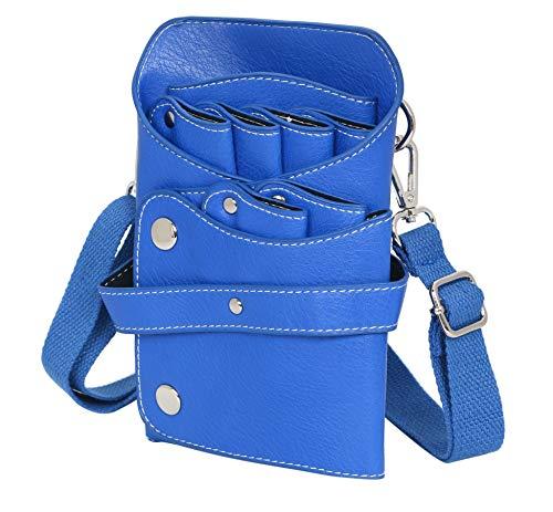ケーセブン シザーバッグ 6ポケット レザー ベルト付き ブルー
