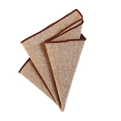 DonDon Fazzoletto da taschino uomo 23 x 23 cm in cotone auto piegante stile tweed monocromatico marrone chiaro 2