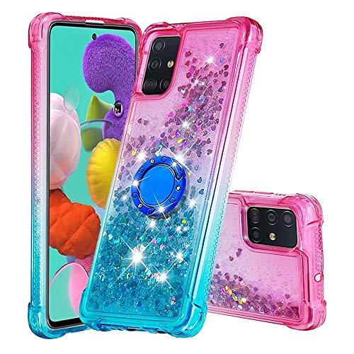 WJMWF Compatible con Funda Samsung Galaxy A51 4G con Anillo Quicksand Glitter Serie de Degradado de Color Suave TPU Silicona Bumper Antigolpes Caso Rosa Arriba y Azul Abajo