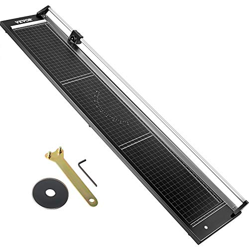"""VEVOR Precision Paper Trimmer 63"""" Cut Length Rotary Paper Trimmer Alloy Steel & Aluminum Paper Cutter Self Sharpening with Spare Blade Manual Paper Cutter for Cutting Photo Paper, Film, Art Card Stock"""